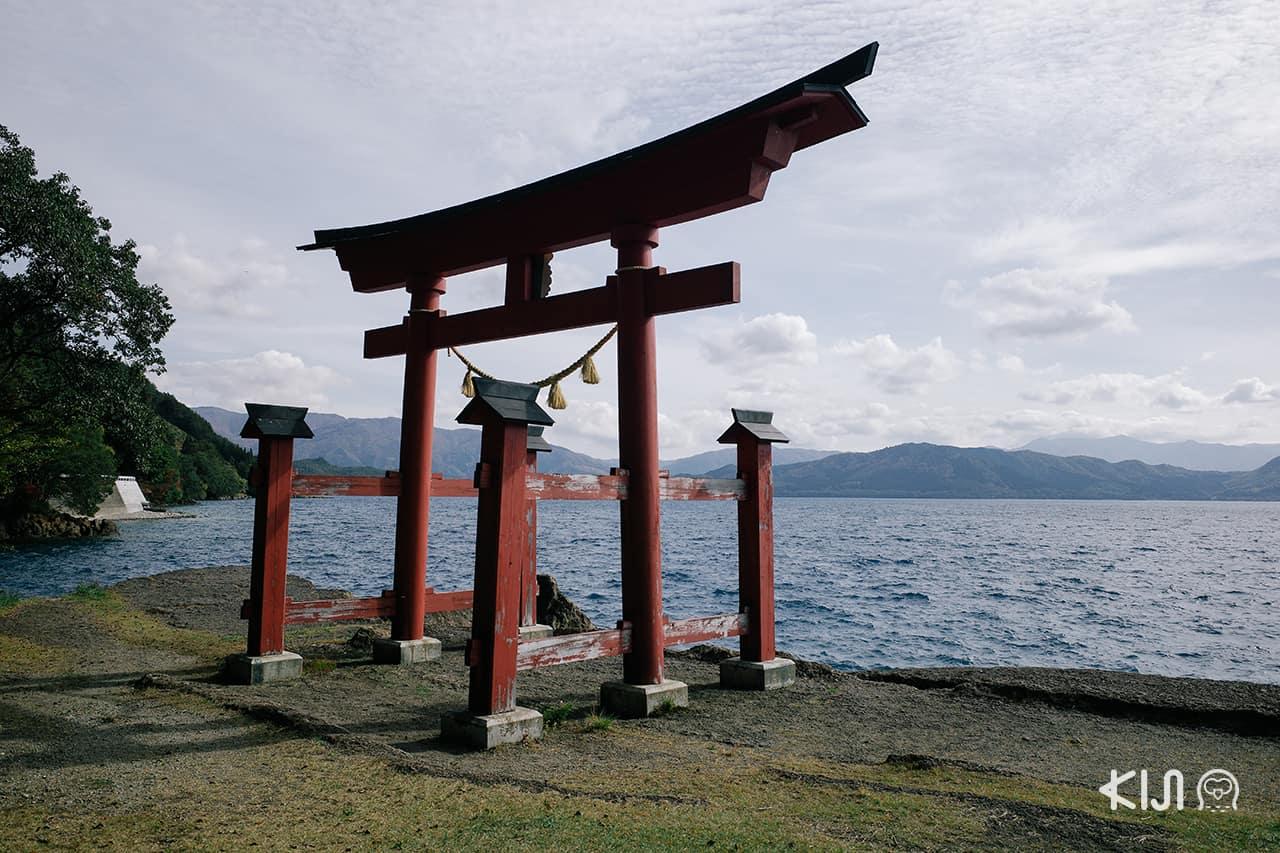 ศาลเจ้าโกะซะโนะอิชิ | Gozanoishi Shrine ริม ทะเลสาบทาซาวะ