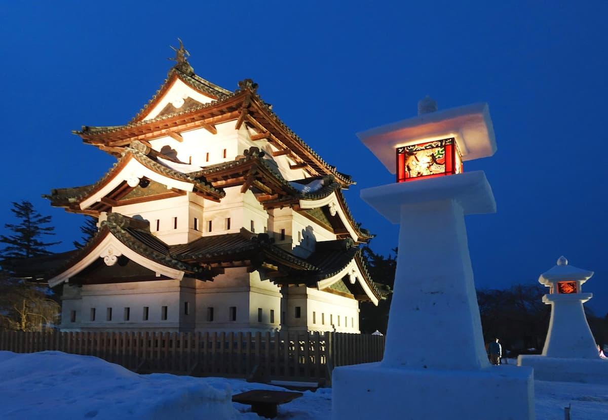 สนุกกับเทศกาลหิมะและซากุระที่ปราสาทฮิโรซากิ ใน โทโฮคุ ช่วง ฤดูหนาว