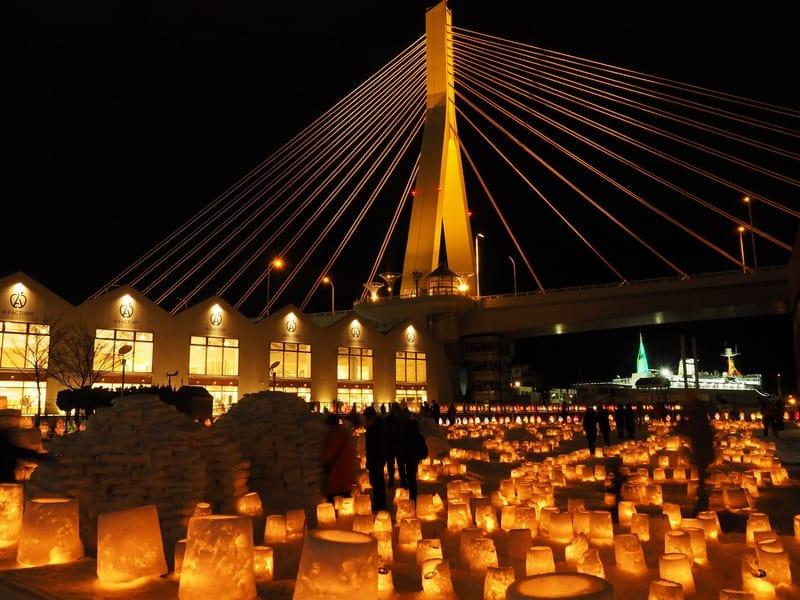 เทศกาลไฟหิมะอาโอโมริ (Aomori Snow Light Festival) เทศกาลของภูมิภาค โทโฮคุ จัดในช่วง ฤดูหนาว