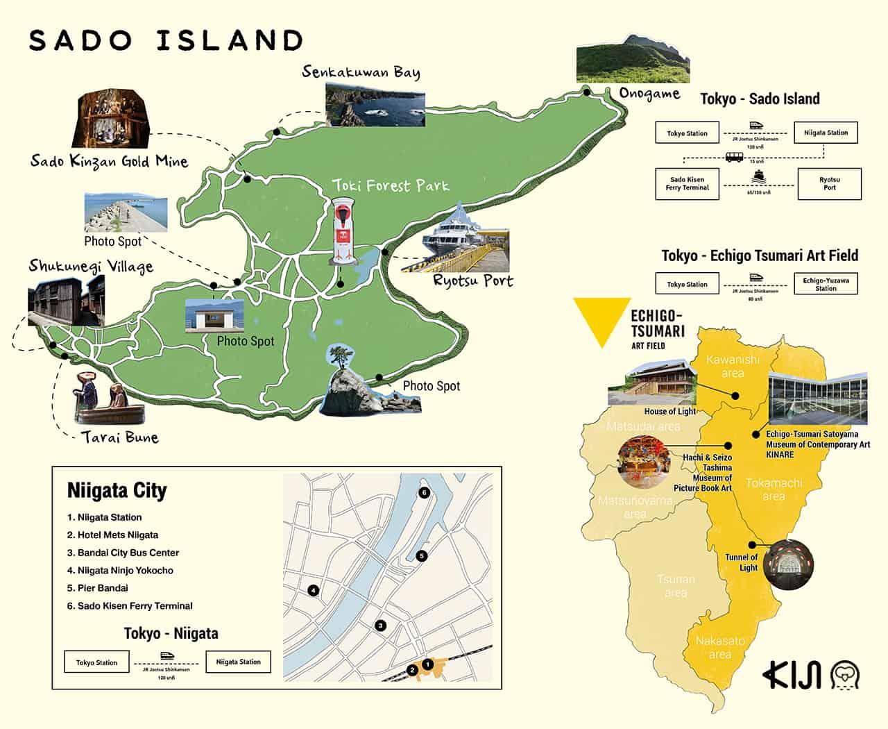 แผนที่เที่ยว นีงาตะ (Niigata) ที่ Sado Island &Echigo-Tsumari Art Field