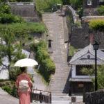 japan edo village-slope walkway-kitsuki-oita prefecture-japan