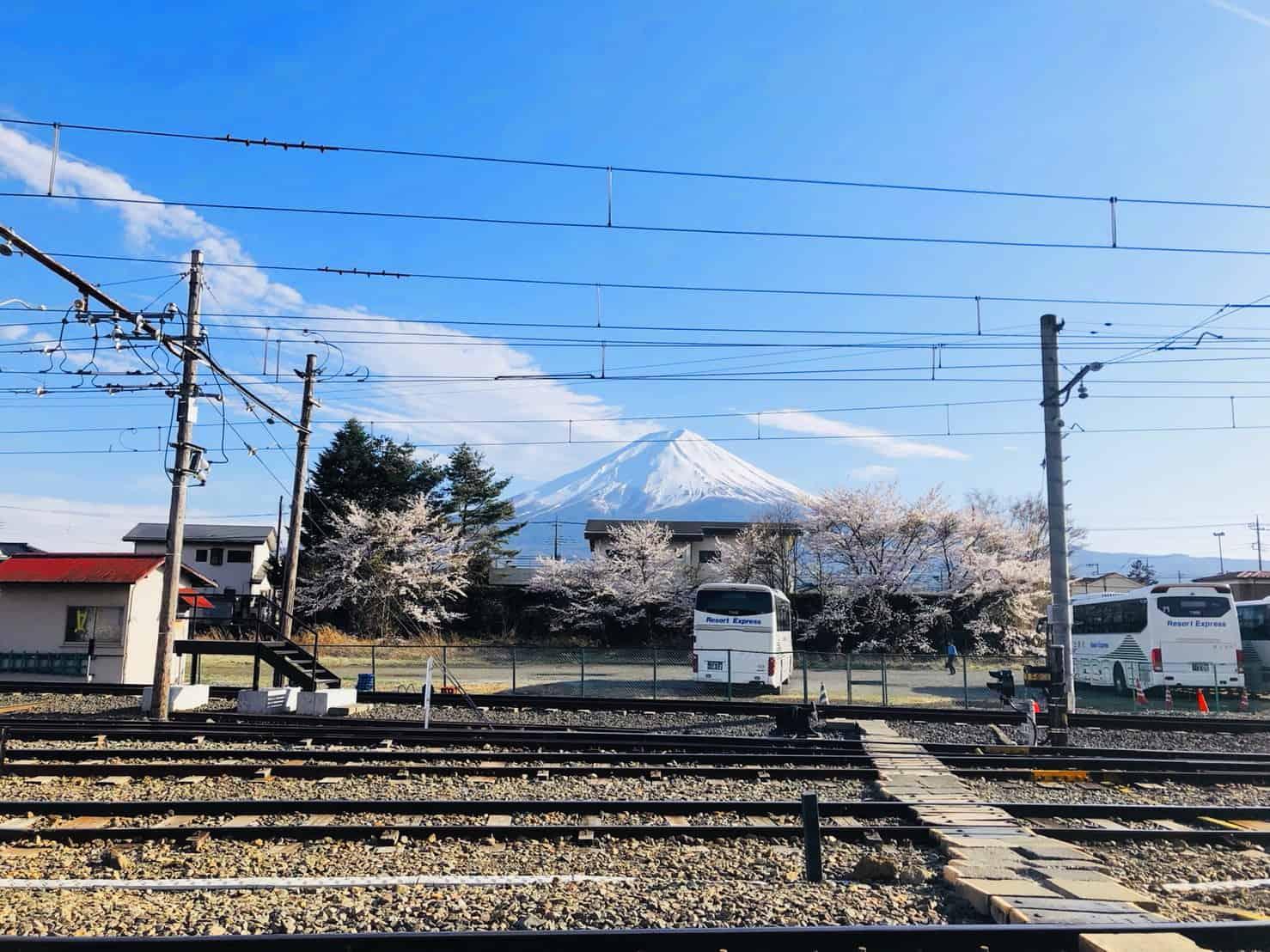 จุดถ่ายรูป ภูเขาไฟฟูจิ รถไฟสายฟูจิคิวโค (Fujikyuko Line)