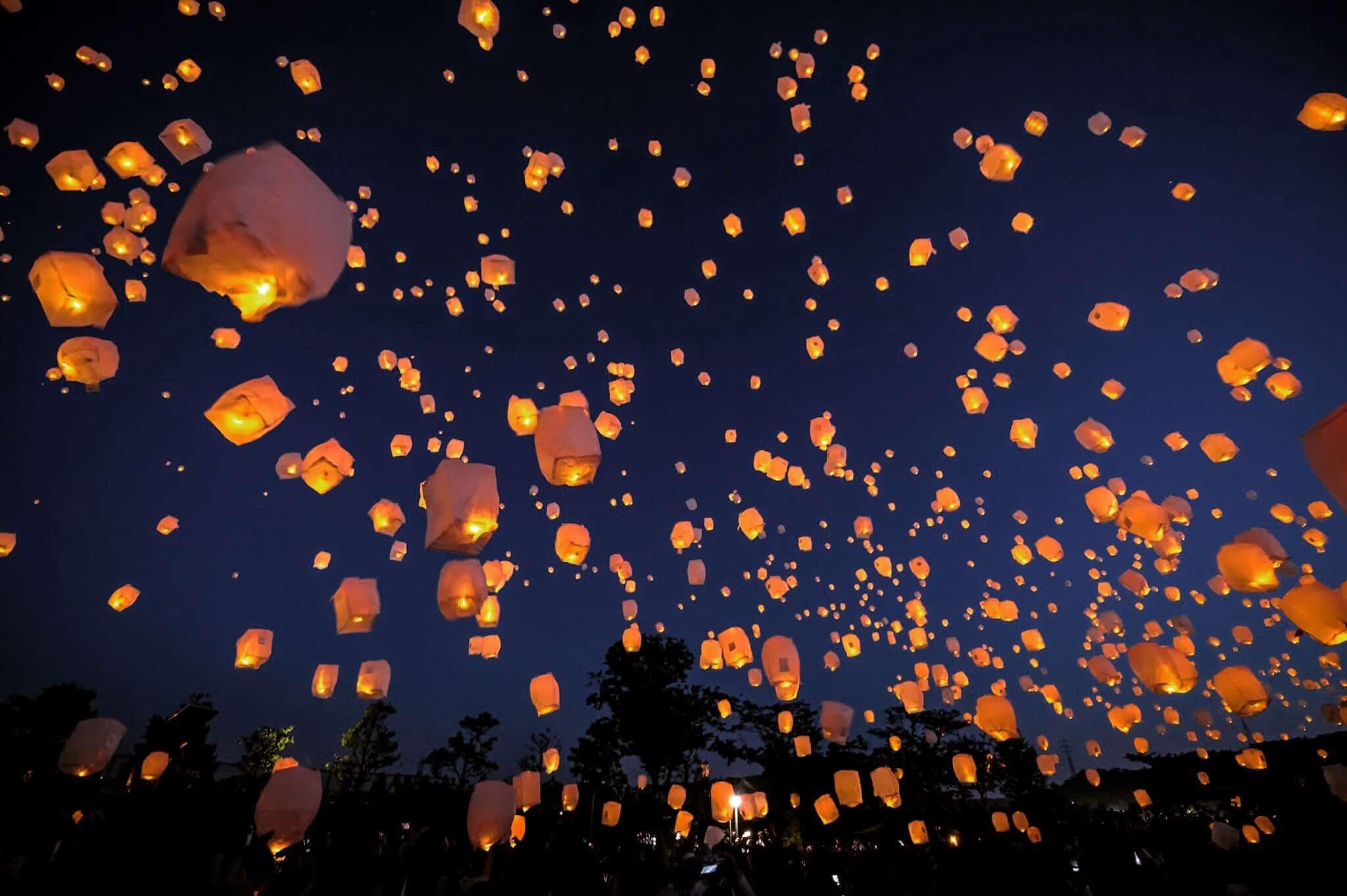 เทศกาลปล่อยโคม ญี่ปุ่น 2020 - เทศกาลโคมลอยทานาบาตะ (Tanabata Sky Lantern Festival)