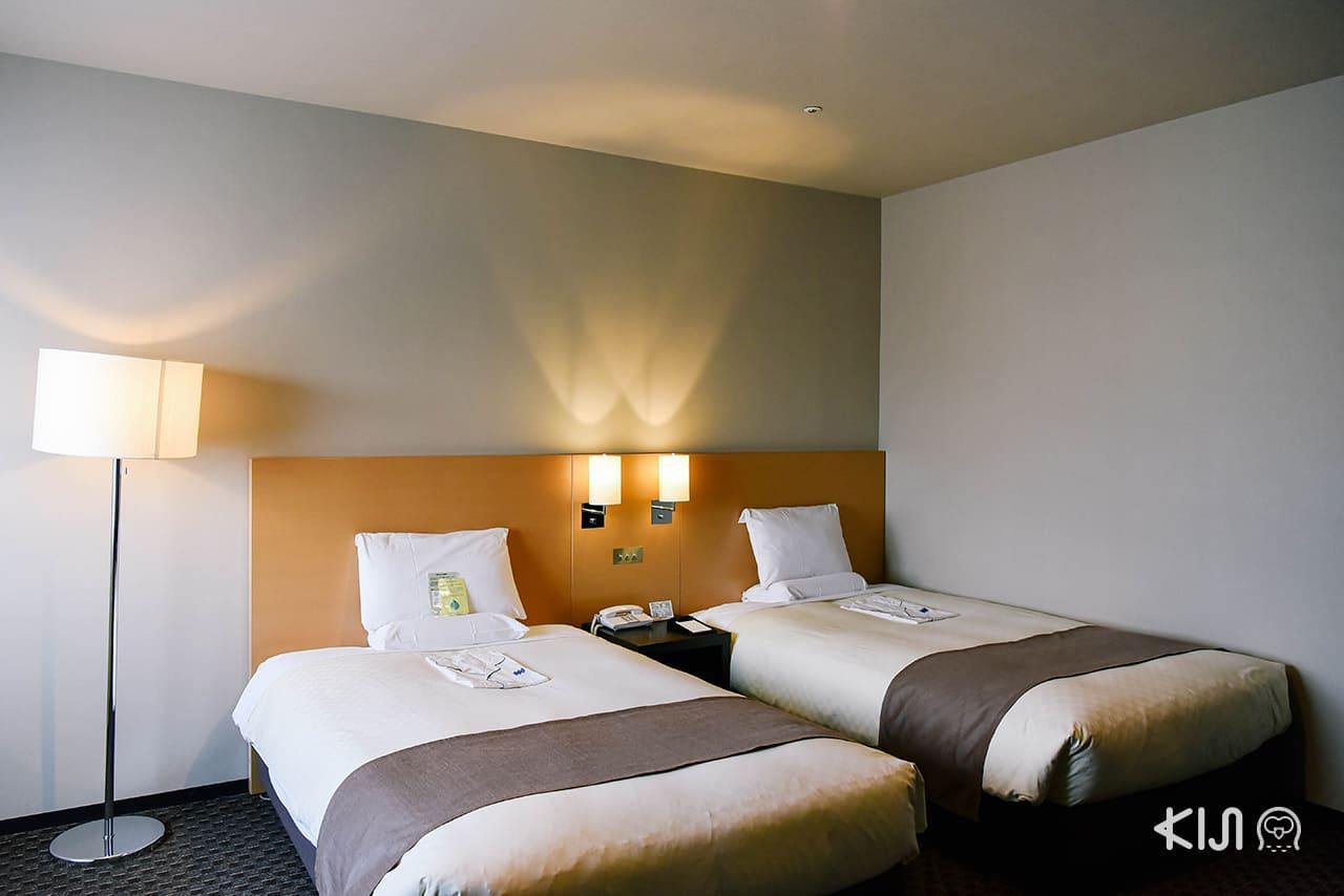 Twin Room รองรับได้สูงสุด 4 คน ตึก Main Building ของ Hotel Metropolitan Morioka