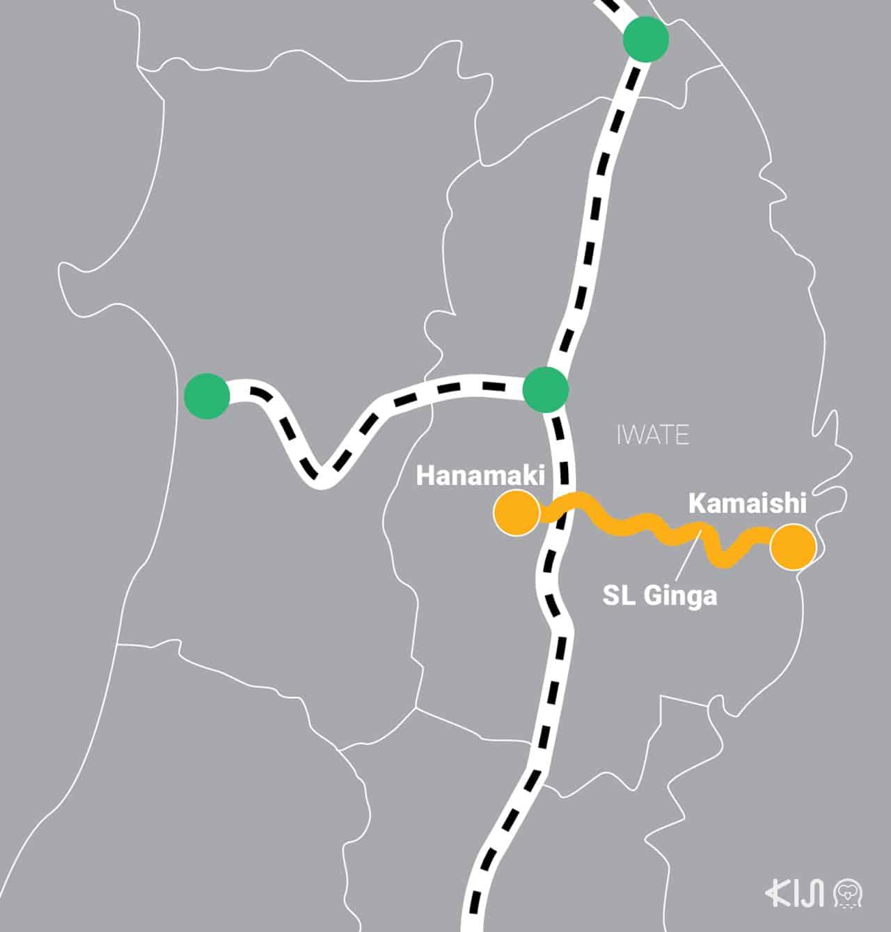 เส้นทางการเดินทางของรถไฟ SL Ginga
