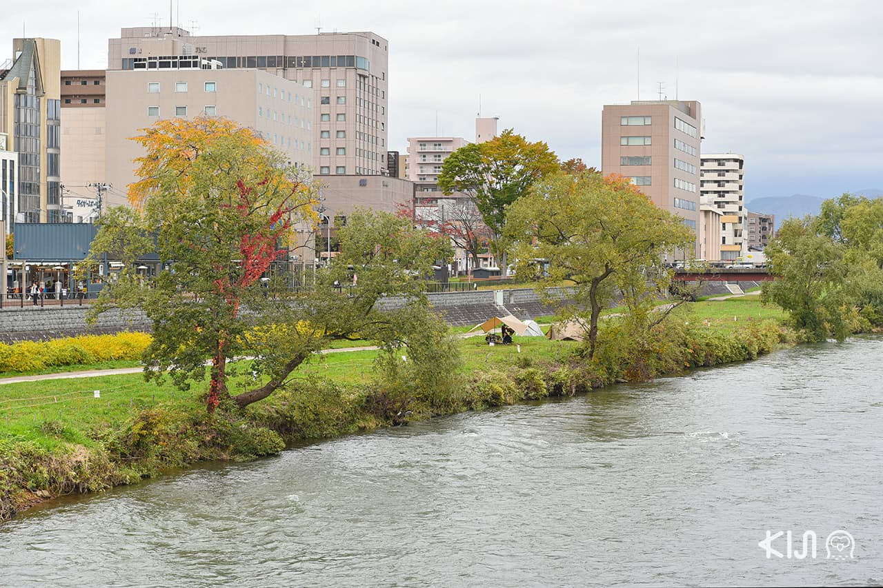 ริมแม่น้ำคิตะคามิ (Kitakami River) ในเมืองโมริโอกะ จังหวัดอิวาเตะ