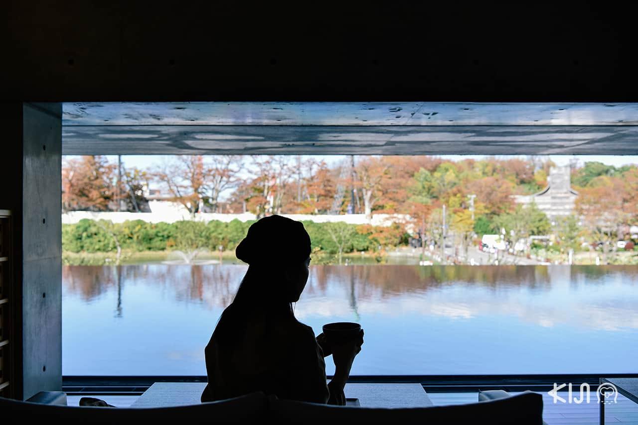 โซนคาเฟ่ของ Akita Museum of Art ก็เหมาะเป็นพื้นที่ผ่อนคลายของเมือง อาคิตะ