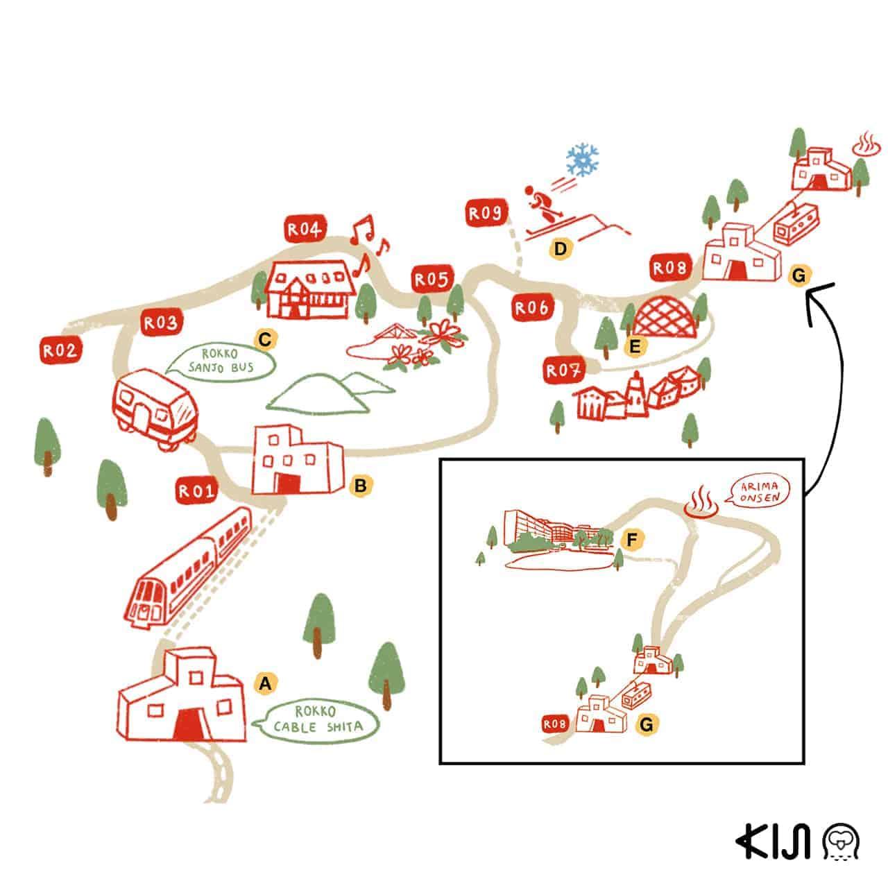 แผนที่ Mt.Rokko - Arima Onsen