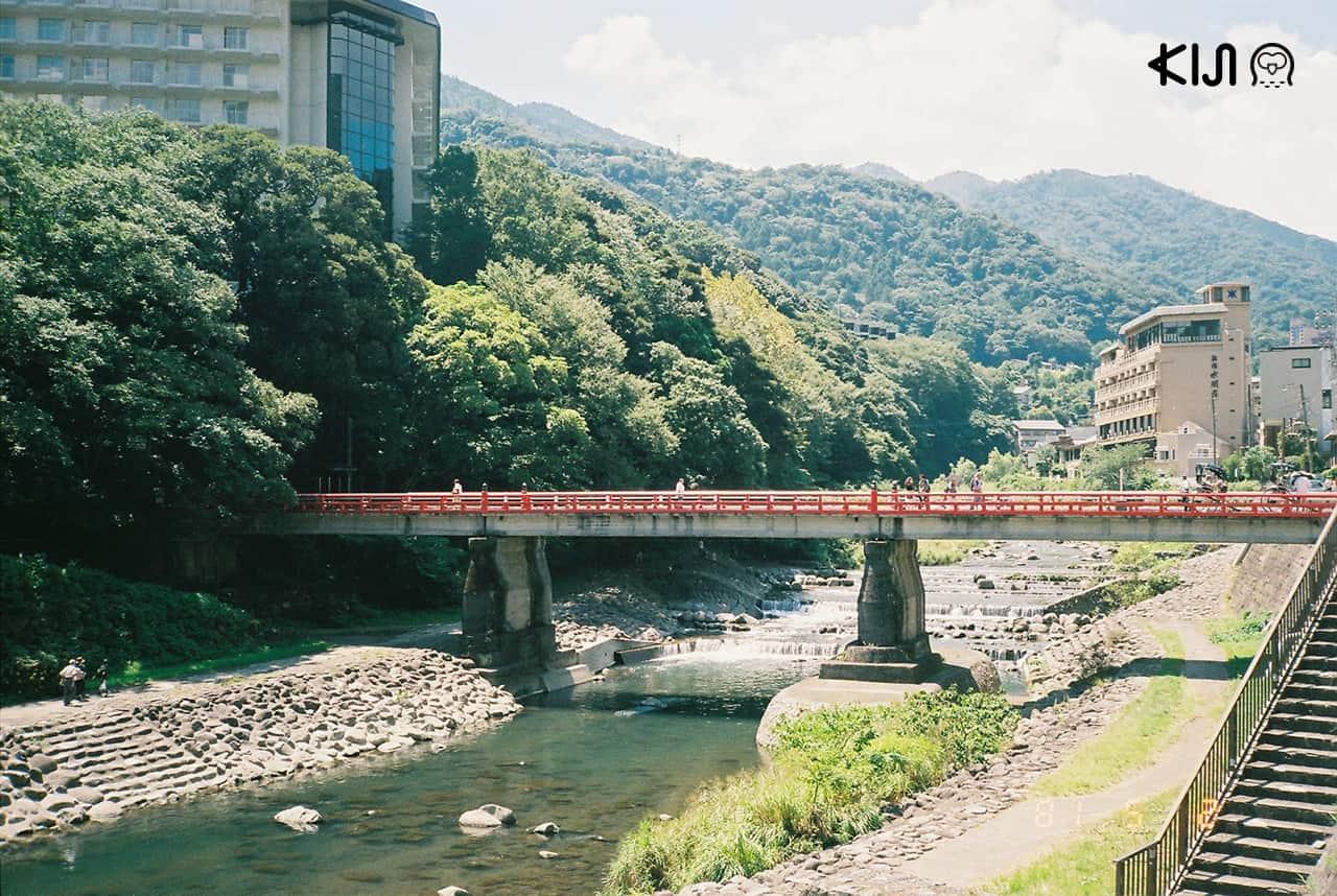 Ajisai Bridge ที่เที่ยวฮาโกเน่ สะพานแดงสดสำหรับเดินเล่น
