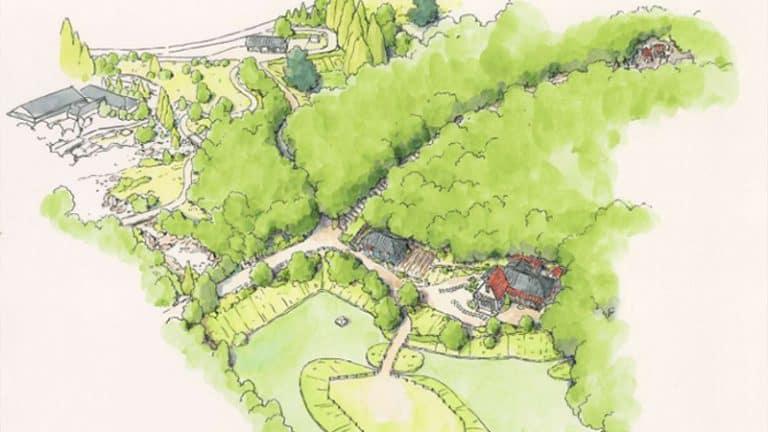 จำลองป่าในชนบทที่มีบ้านของซัตสึกิและเมตัวละครหลักจาก My Neighbor Totoro ภายใน สวนสนุกสตูดิโอจิบลิ