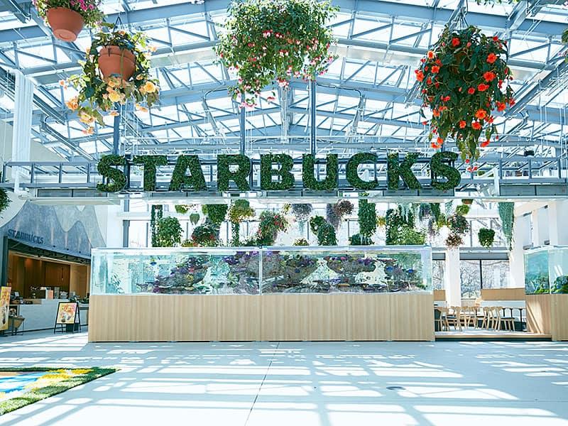โลโก้ของร้าน Starbucks Yomiuriland ก็ถูกออกแบบโดยใช้พืชที่ยังมีชีวิตผสานเข้าด้วยกันอย่างลงตัว