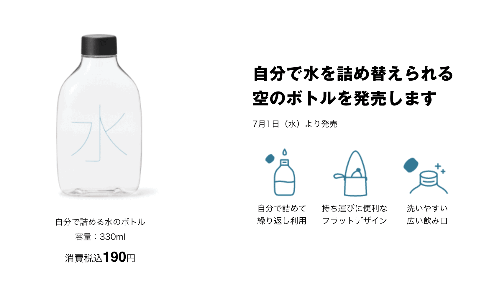 ขวดน้ำแบบเติม สกรีนคำว่า 水 (น้ำ) จาก Muji