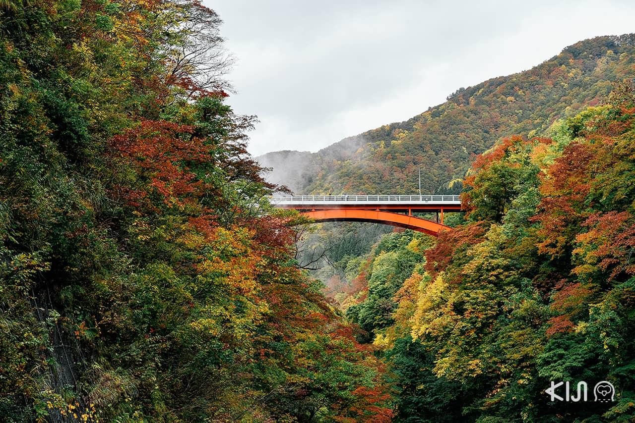 สะพานแดงคาวารายุ (Kawarayu Bridge) ที่ตั้งพาดข้ามหุบเขาหุบเขาโอยาสุ (Oyasu Valley)