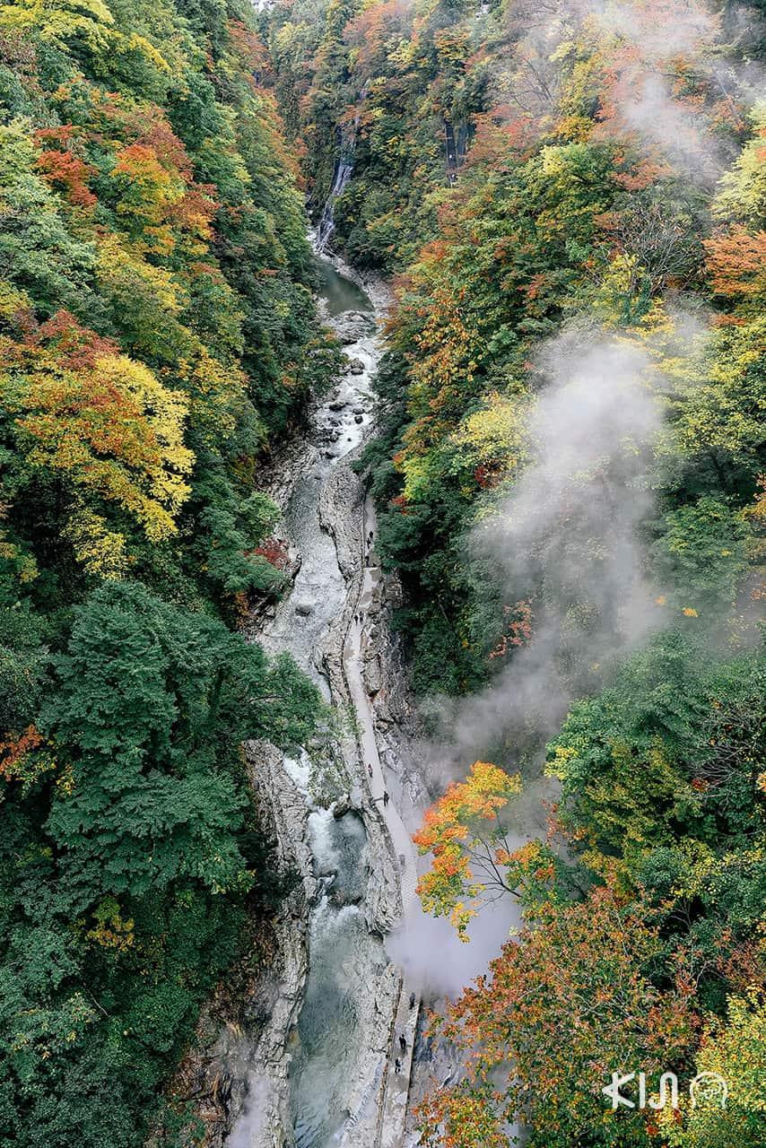 วิวมุมสูงของหุบเขาโอยาสุ (Oyasu Valley)
