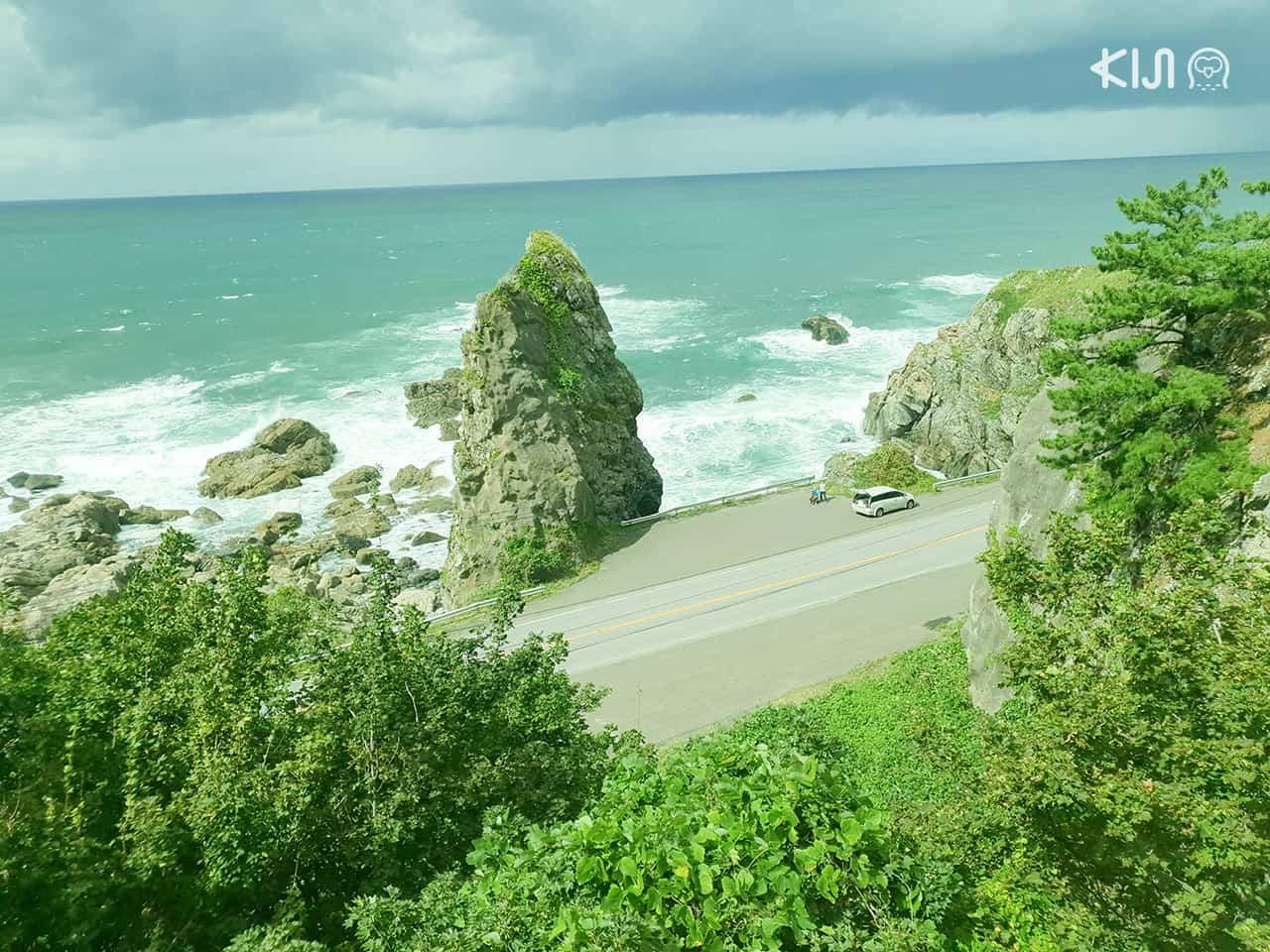 สถานที่เที่ยวตามเส้นทางเดินรถไฟขบวน Resort Shirakami - จุดชมวิวทะเล