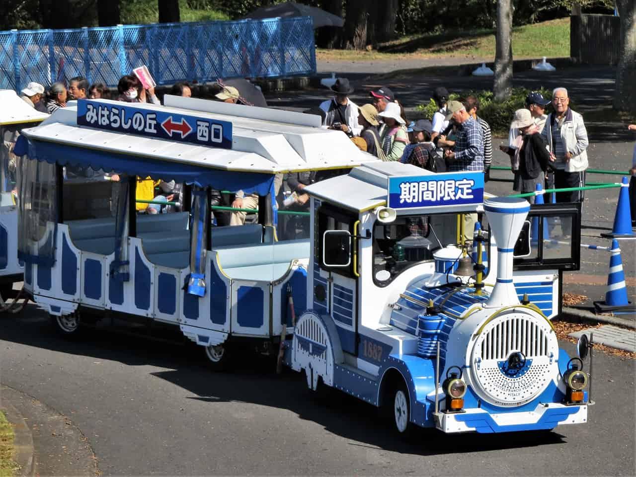รถไฟนำเที่ยวในสวน Hitachi Seaside Park ใช้เวลาประมาณ 50 นาทีต่อรอบ