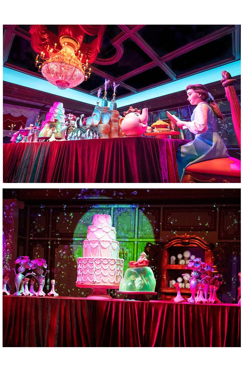 เครื่องเล่น Beauty and the Beast Magical Story จะเคลื่อนที่จะพาเราชมฉากไฮไลท์รอบๆ ปราสาท