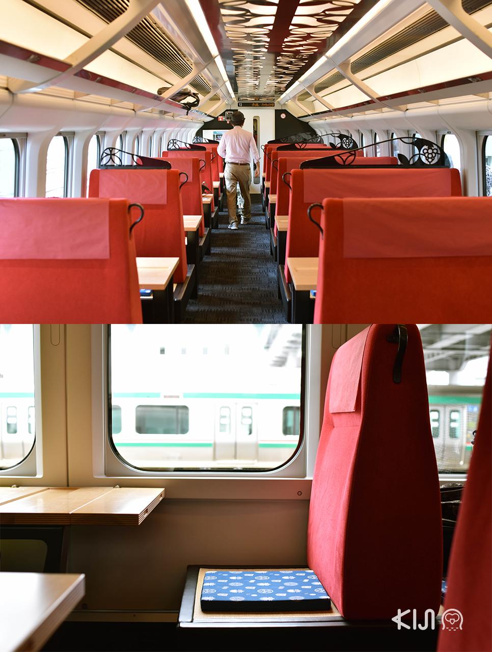 JR East Pass Tohoku area : บรรยากาศภายในตู้โดยสาร 1-4 ของขบวนรถไฟ Toreiyu Tsubasa