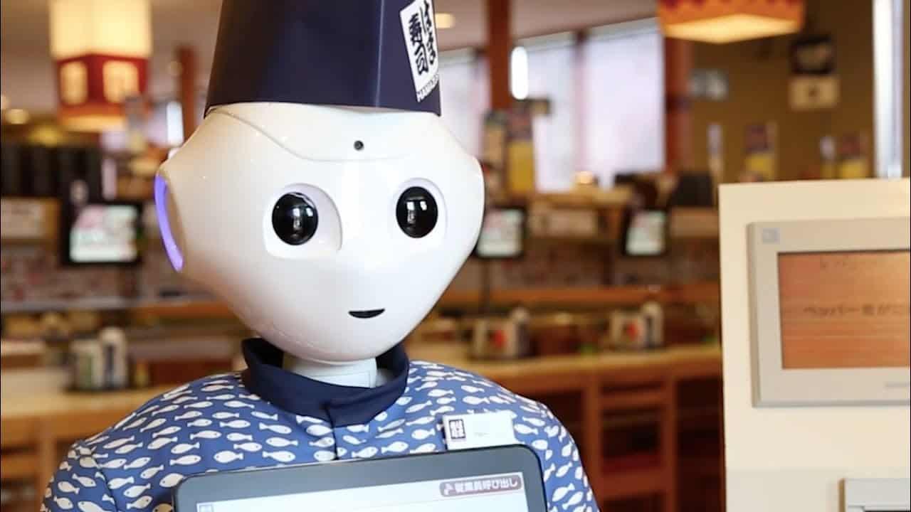 หุ่นยนต์บริการในร้าน ซูชิสายพาน