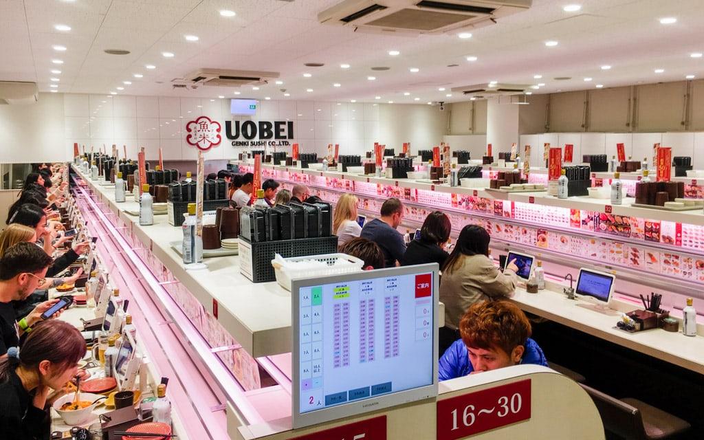 ร้าน ซูชื ถูกและดี : Uobei Shibuya Dogenzaka-ten ย่าน Shibuya จ.โตเกียว