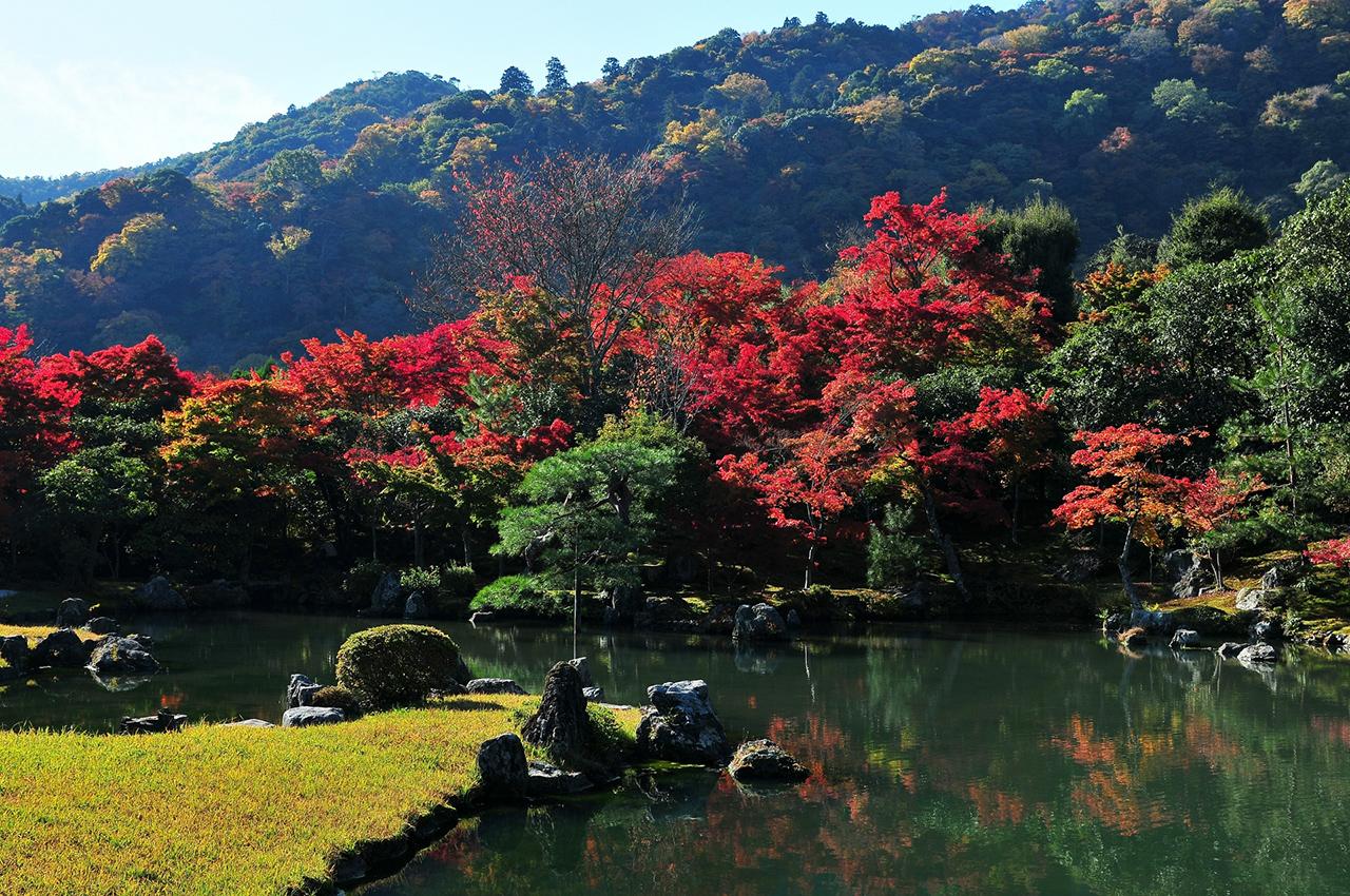 วัดเท็นริวจิเป็น จุดชมใบไม้เปลี่ยนสี ใน เกียวโต ที่มีชื่อเสียงมาก