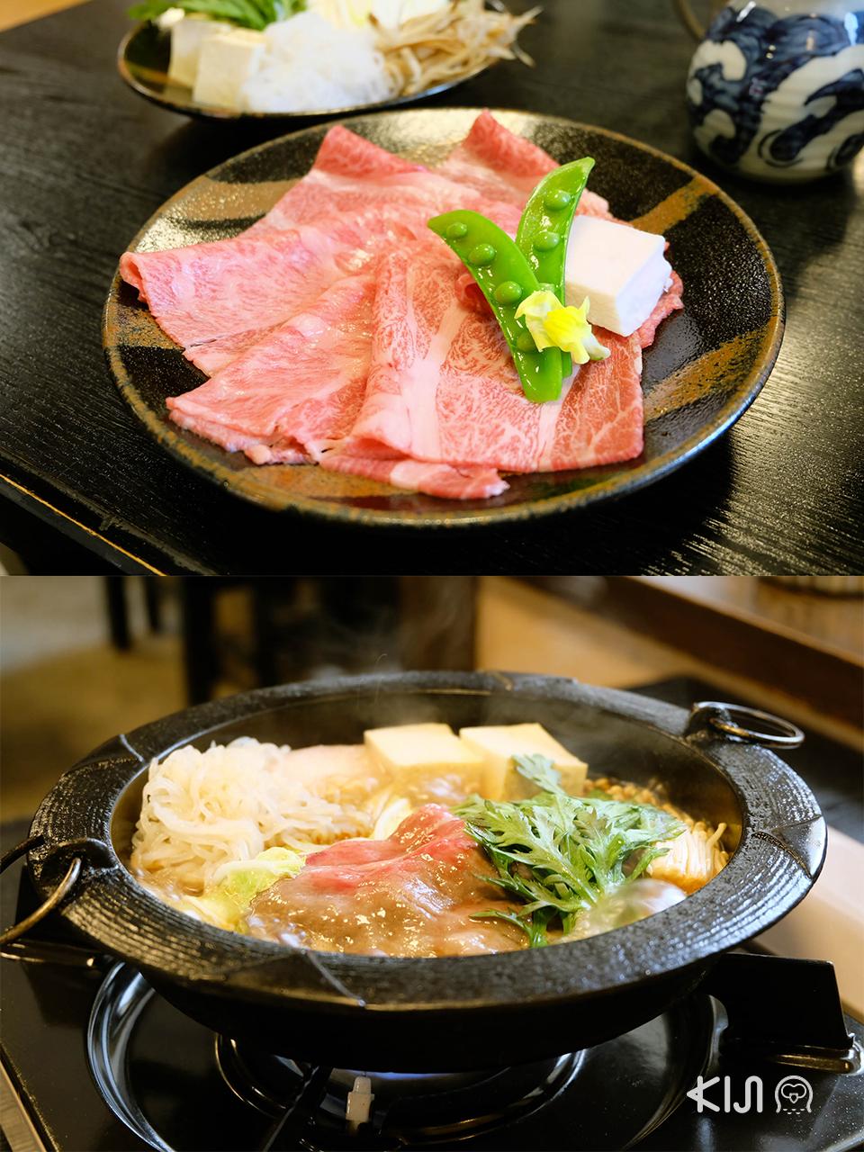 เที่ยวยามากาตะ (โยเนซาวะ และ ยามาเดระ) : Shimofuri Sukiyaki Set (4,800 เยน) เซ็ตมื้อกลางวันจากร้าน Gyunabe O-ki