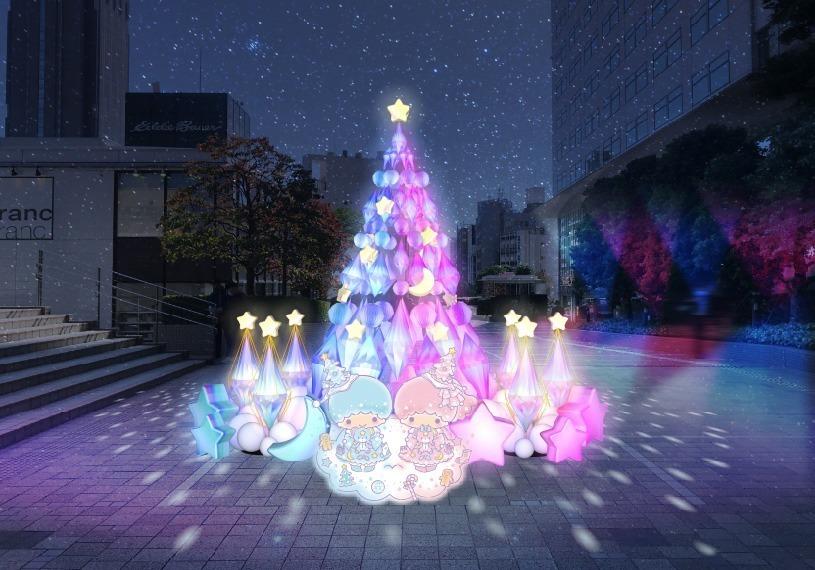 AR ต้นคริสต์มาสจากงาน Little Twin Stars Shinjuku ในย่านชินจูกุ