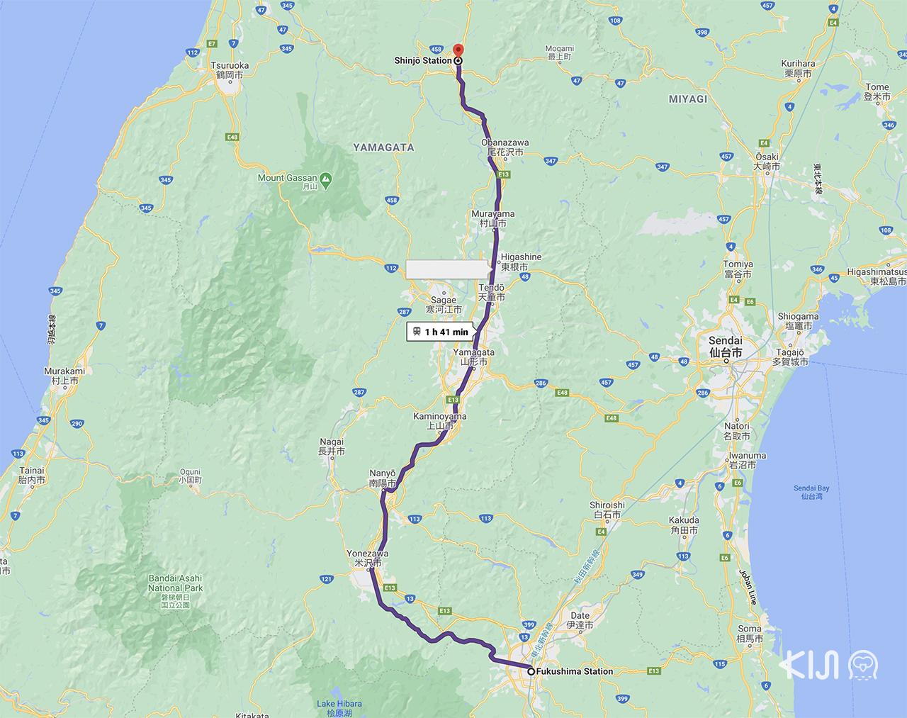 แผนที่เดินรถไฟของขบวน Toreiyu Tsubasa