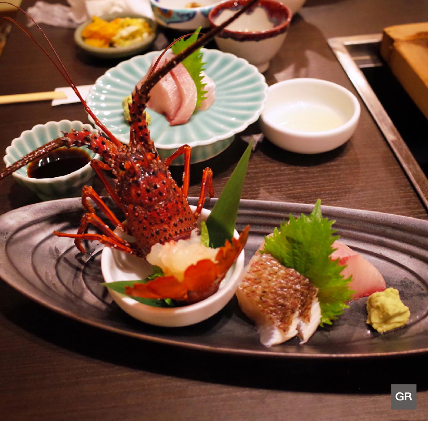 ซาชิมิ กุ้งมังกรอิเสะ (ISE-EBI) ของร้าน KAGETU