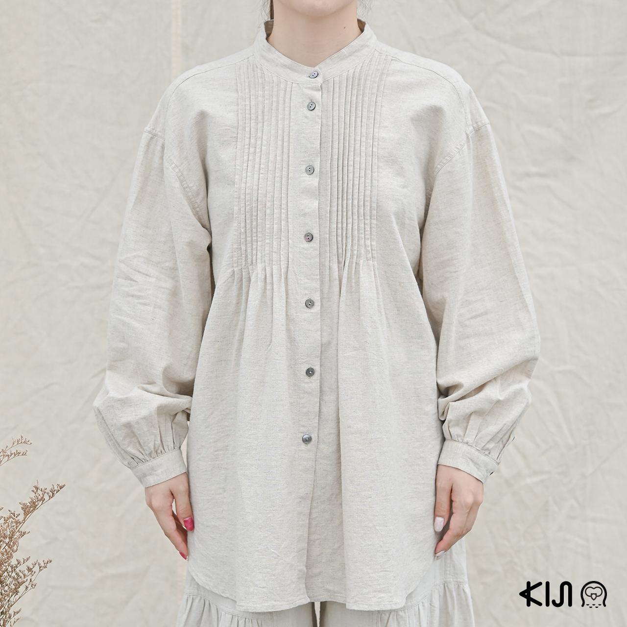Pin Tack Shirt (4,600 บาท) เสื้อเชิ้ตดีไซน์เก๋ ผลิตจากใยกัญชง 100% จากแบรนด์ planeta ORGANICA