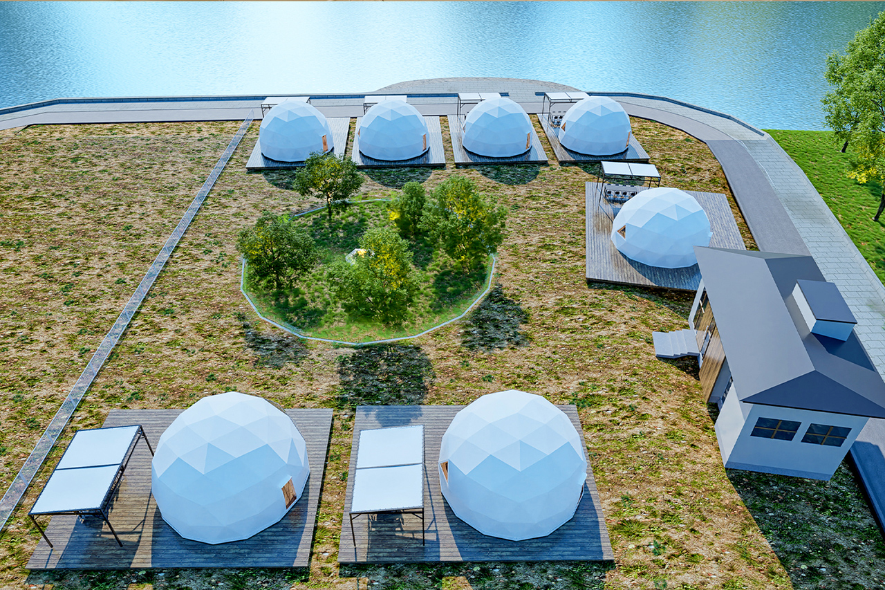 Glampdome Setouchi Shimanami มีที่พักให้เลือก 3 แบบ ได้แก่ มาคู่ มาเป็นครอบครัว หรือก๊วนใหญ่ก็เพียงพอ
