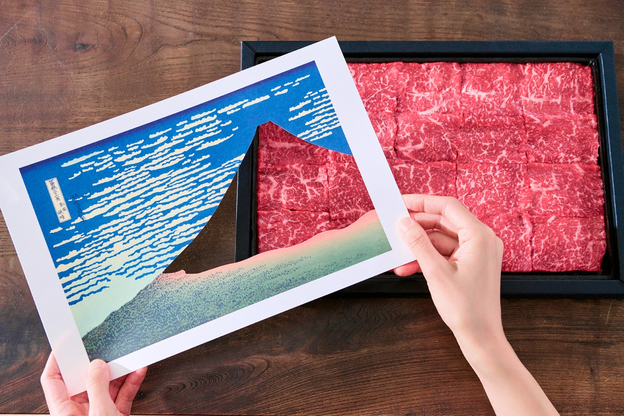 "Art Beef Gallery กับภาพวาด ""ฟูจิสีแดง (Red Fuji)"" หนึ่งในผลงานของศิลปินชื่อดัง คัตสึชิกะ โฮกูไซ (Hokusai Katsushika)"