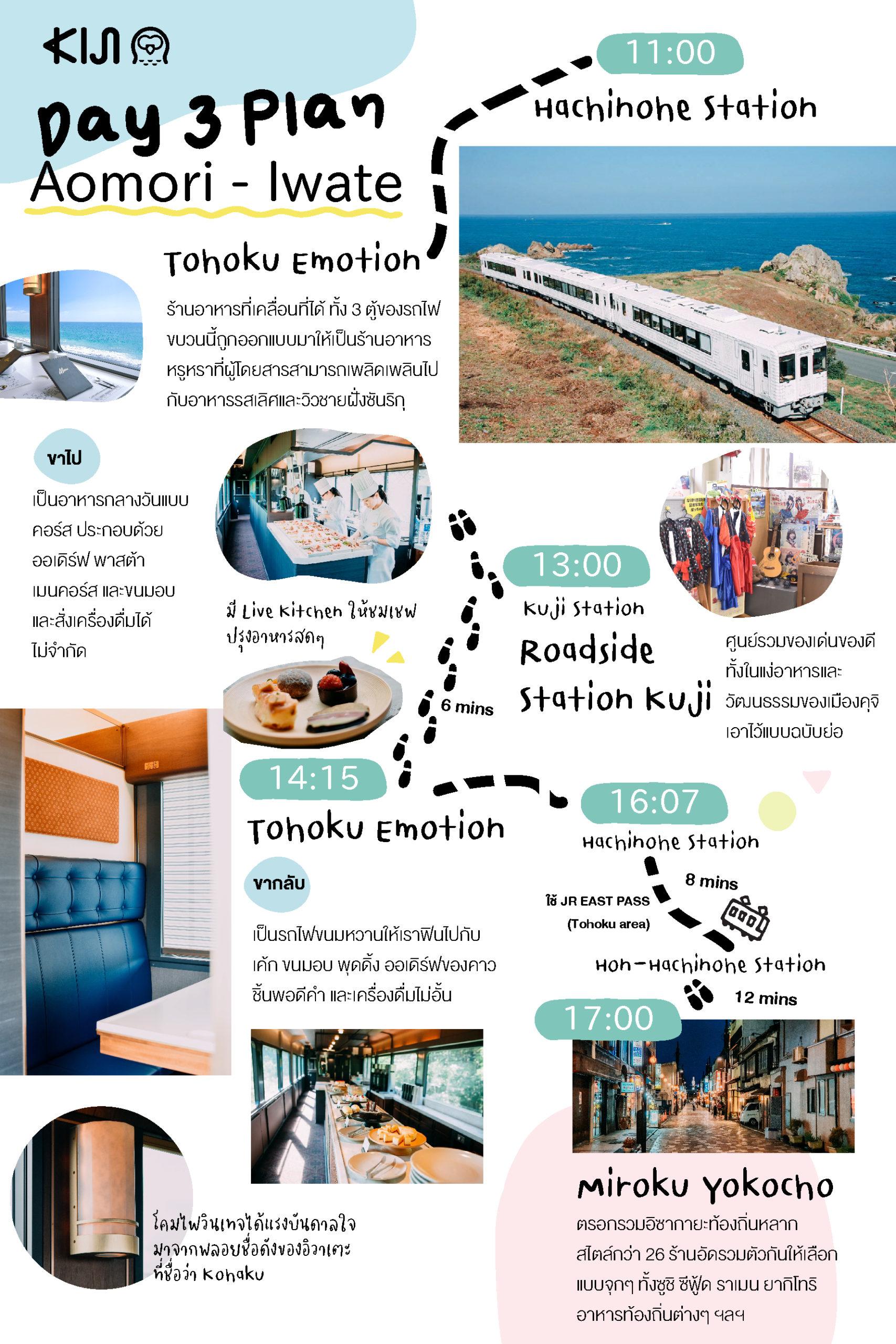Day 3 : นั่งรถไฟ Tohoku Emotion ที่วิ่งระหว่าง อาโอโมริ (Aomori) กับ อิวาเตะ (Iwate)