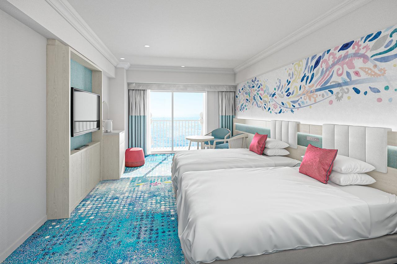 Grand Nikko Tokyo Bay Maihama : ห้องพักติดทะเล The Aqua ห้องตกแต่งด้วยสีฟ้าคราม