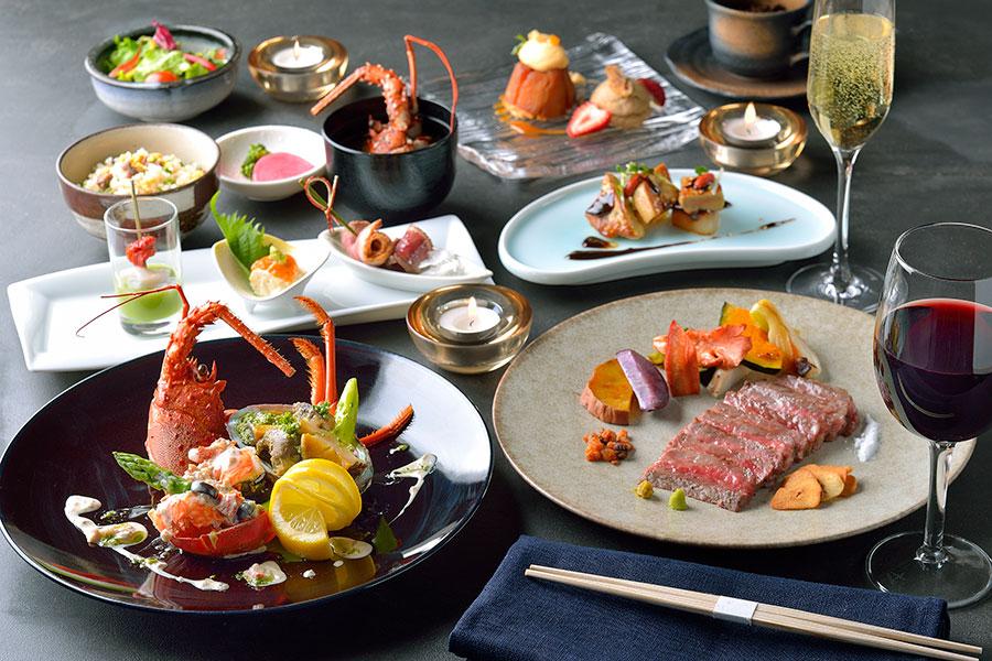 ร้านเทปปันยากิโตเกียว Steak & Shabu Shabu Fujita คอร์ส Kaede (9,075 เยน)